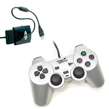 Under Control Shockcontroller Gris + Convertisseur de manette (PS2 / PS3)