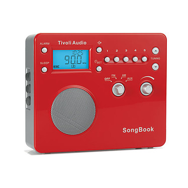 Tivoli Audio SongBook Rouge Radio réveil AM/FM compatible iPod