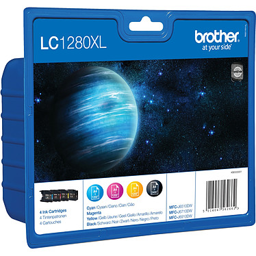 Brother LC1280XL Pack de 4 cartouches d'encre haute capacité noire, cyan, magenta, jaune (2 400 pages à 5%)