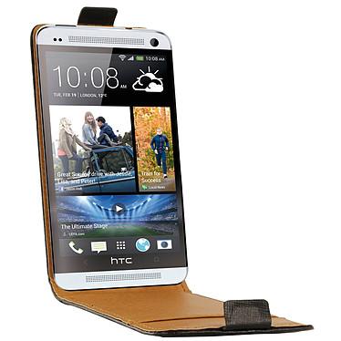 Swiss Charger Etui Cuir Flip Noir pour HTC One