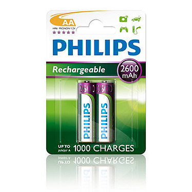 Philips R6B2A260/10 2 Piles Rechargeables AA 2600 mAh