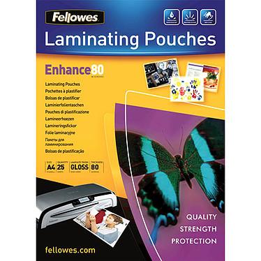 Fellowes Pochettes brillantes A4 80µ x 25 Pochettes de plastification brillantes A4 80 microns