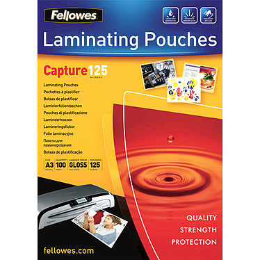Fellowes Pochettes brillantes A3 125µ x 100 Pochettes de plastification brillantes A3 125 microns