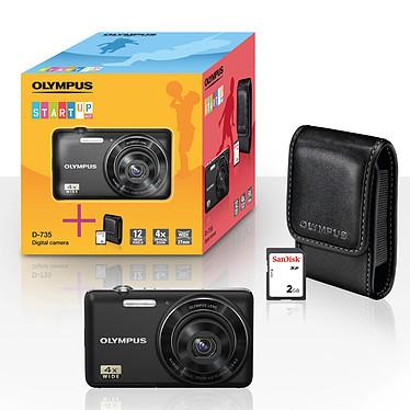 "Olympus D-735 Noir + Etui + Carte SD 2 Go Appareil photo 12 MP - Ecran 2.7"" - Zoom numérique 4x + étui + carte SD 2 Go"