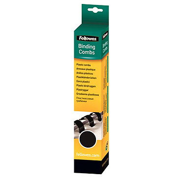 Fellowes Anneaux de reliure 6 mm Noir x 25 Lot de 25 anneaux de reliure de 6 mm en plastique noir pour 20 pages A4