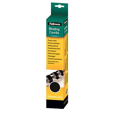 Fellowes Anneaux de reliure 8 mm Noir x 25 Lot de 25 anneaux de reliure de 8 mm en plastique noir pour 40 pages A4