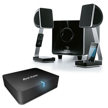 Focal XS + Real Cable iPlug-BTR Ensemble 2.1 avec Dock iPod + adaptateur Bluetooth pour conversion en système audio sans fil
