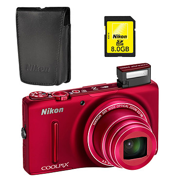 Nikon Coolpix S9500 Rouge + Etui ALM230103 + Carte SDHC 8 Go