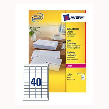 Avery L7654 - Mini Etiquettes blanches laser - boite de 4000 étiquettes (45,7 x 25,4 mm)