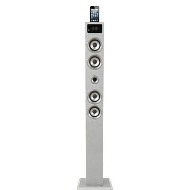 SoundVision SV-T03 BT Blanc Enceinte colonne avec double station d'accueil pour iPod / iPhone et écran LCD