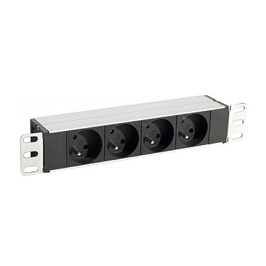 Multiprise rackable pour armoire réseau - longueur 10'' - hauteur 1U  - 4 prises CEE 7/5 - fiche CEE 7/7 Multiprise rackable