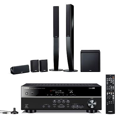 Yamaha RX-V375 Noir + Yamaha NS-PA40  Noir Ampli-tuner Home Cinéma 5.1 DLNA 3D-Ready avec HDMI 1.4 et Décodeurs HD Airplay + Pack d'enceintes 5.1