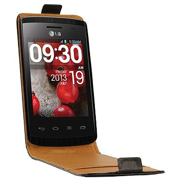Swiss Charger Etui Cuir Flip Noir pour LG L1 II Etui en cuir véritable pour LG L1 II
