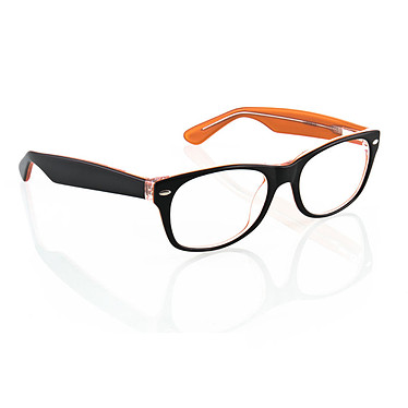 MESLUNETTESDORDI.com LU1102-03 Lunettes de confort en acétate couleur noir, cristal & orange + étui rigide & chamoisine - Mixte