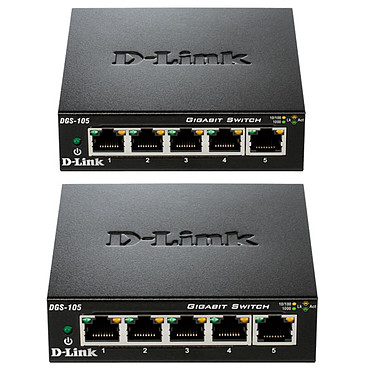D-Link DGS-105 x2 2 Switchs Gigabit 5 ports 10/100/1000 Mbps - Boîtier métal