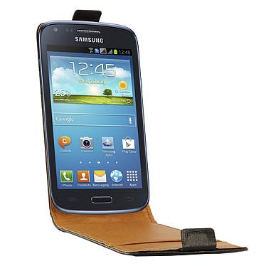 Swiss Charger Etui Cuir Flip Noir pour Galaxy Core