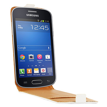 Swiss Charger Etui Cuir Flip Blanc pour Galaxy Trend Lite Etui en cuir véritable pour Samsung Galaxy Trend Lite