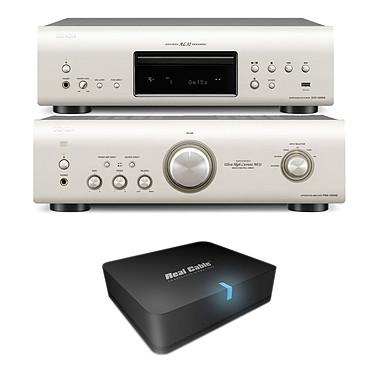 Denon PMA-1520AE Argent + Denon DCD-1520AE Argent + Real Cable iPlug-BTR Amplificateur stéréo intégré 2 x 70 W + Platine CD/SACD compatible MP3 et WMA + Adaptateur Bluetooth pour conversion d'ampli Hi-Fi ou Home-Cinéma en système audio sans fil
