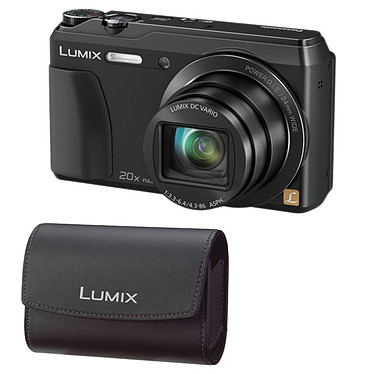 Panasonic DMC-TZ55 Noir + Panasonic DMW-PHS14XEK Appareil photo 16 MP - Grand angle 24 mm - Zoom 20x - Video Full HD + Étui en cuir