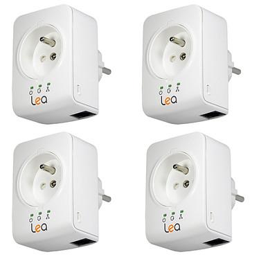 Lea NetSocket 500 Mini x4 4 Minis adaptateurs CPL 500 Mbps avec prises filtrées