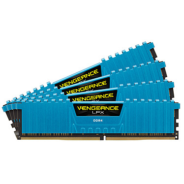 Corsair Vengeance LPX Series Low Profile 16 Go (4x 4 Go) DDR4 3000 MHz CL15 Kit Quad Channel 4 barrettes de RAM DDR4 PC4-24000 - CMK16GX4M4B3000C15B (garantie à vie par Corsair)
