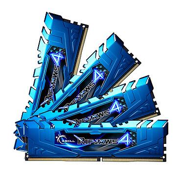 G.Skill RipJaws 4 Series Bleu 16 Go (4x 4 Go) DDR4 3000 MHz CL15 Kit Quad Channel 4 barrettes de RAM DDR4 PC4-24000 - F4-3000C15Q-16GRBB (garantie 10 ans par G.Skill)