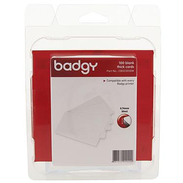 Evolis Badgy 100 cartes blanches vierges épaisses 100 Cartes blanches vierges PVC épaisses - 0,76 mm