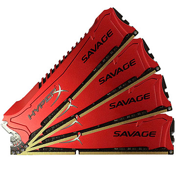 HyperX Savage 32 Go (4 x 8 Go) DDR3 1600 MHz XMP CL9 Kit Quad Channel RAM DDR3 PC12800 - HX316C9SRK4/32 (garantie à vie par Kingston)