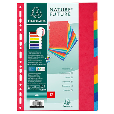 Avis Exacompta Nature Future Intercalaires A4 12 positions carte lustrée