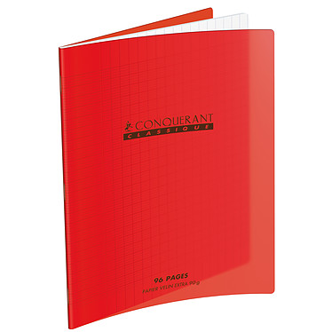 Conquérant Cahier 96 pages 240 x 320 mm seyes grands carreaux  Rouge