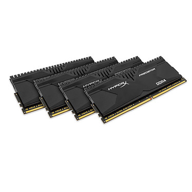 HyperX Predator Noir 32 Go (4x 8 Go) DDR4 2666 MHz CL13 Kit Quad Channel 4 barrettes de RAM DDR4 PC4-21300 - HX426C13PBK4/32 (garantie 10 ans par Kingston)