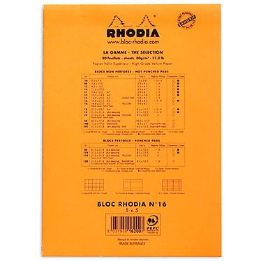 Avis Rhodia Bloc N°16 Orange agrafé en-tête 14.8 x 21 cm quadrillé 5 x 5 160 pages