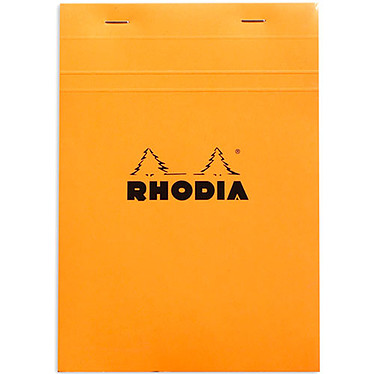 Rhodia Bloc N°16 Orange agrafé en-tête 14.8 x 21 cm quadrillé 5 x 5 160 pages