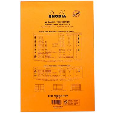 Avis Rhodia Bloc N°20 Orange agrafé en-tête 21 x 31.8 cm petits carreaux  5 x 5 mm 160 pages perforées