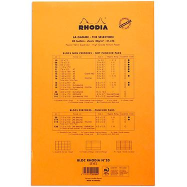 Avis Rhodia Bloc N°20 Orange agrafé en-tête 21 x 31.8 cm Seyès grands carreaux  160 pages perforées
