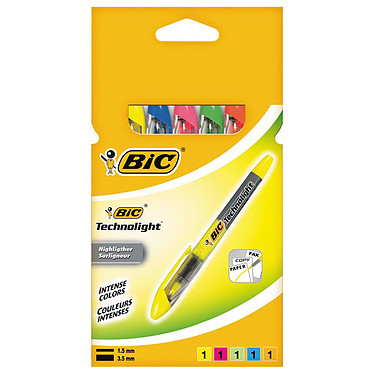 BIC Technolight pack de 5 surligneurs assortis
