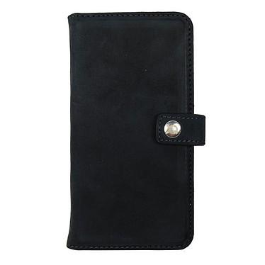xqisit Etui Wallet Eman Cuir Noir iPhone 6/6s Etui Folio porte-feuille en cuir véritable pour Apple iPhone 6/6s