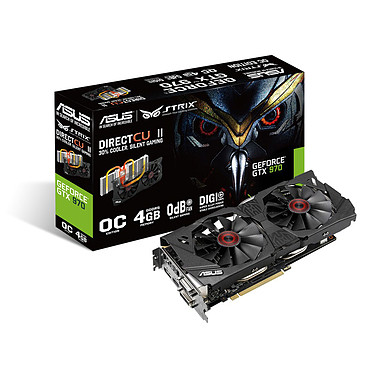ASUS STRIX GTX970-DC2OC-4GD5 - GeForce GTX 970 4 Go 4096 Mo Dual DVI/HDMI/DisplayPort - PCI Express (NVIDIA GeForce avec CUDA GTX 970)