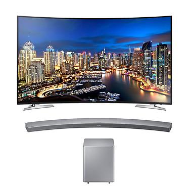 """Samsung UE55HU7100 + Samsung HW-H7501 Téléviseur incurvé LED 4K 55"""" (140 cm) 16/9 - 3840 x 2160 pixels - TNT et Câble HD - Wi-Fi - DLNA - UHD 2160p - 800 Hz + Barre de Son incurvée 8.1 avec caisson de basses sans fil"""