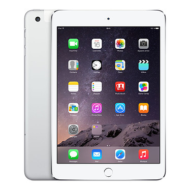 "Apple iPad mini 3 avec écran Retina Wi-Fi + Cellular 64 Go Argent Tablette Internet 4G-LTE - Apple A7 1.3 GHz 1 Go 64 Go 7.9"" LED tactile Wi-Fi N/Bluetooth Webcam iOS 8"