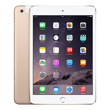 "Apple iPad mini 3 avec écran Retina Wi-Fi + Cellular 128 Go Or Tablette Internet 4G-LTE - Apple A7 1.3 GHz 1 Go 128 Go 7.9"" LED tactile Wi-Fi N/Bluetooth Webcam iOS 8"