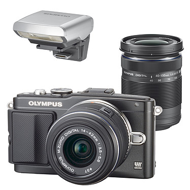 Olympus E-PL5 Noir + Objectifs 14-42mm II R et 40-150mm R Noir + Flash