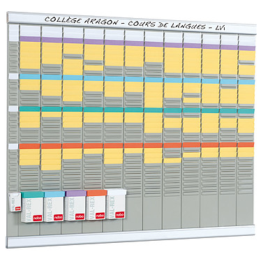 Nobo kit planning annuel 13 colonnes 32 fentes · Occasion Kit planning annuel