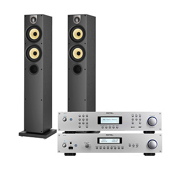 Rotel RA-12 Argent + RT-12 Argent + B&W 684 S2 Black Ash Amplificateur intégré Hi-Fi stéréo 2 x 60 Watts + Lecteur audio réseau avec Wi-Fi + Enceinte colonne (par paire)
