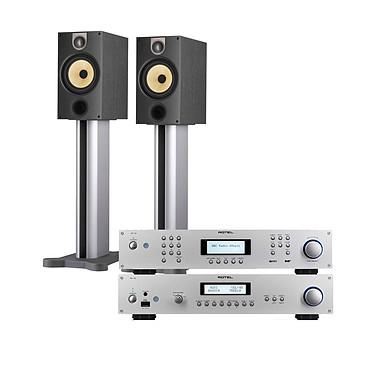 Rotel RA-12 Argent + RT-12 Argent + B&W 685 S2 Black Ash Amplificateur intégré Hi-Fi stéréo 2 x 60 Watts + Lecteur audio réseau avec Wi-Fi + Enceinte bibliothèque (par paire)