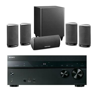 Sony STR-DN1050 + Harman Kardon HKTS 5 Noir Ampli-tuner Home Cinema 7.2 NFC et Wi-Fi  avec 6 entrées HDMI + Pack d'enceintes 5.1 avec caisson de basses sans fil