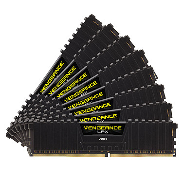 Corsair Vengeance LPX Series Low Profile 128 Go (8x 16 Go) DDR4 2400 MHz CL14 Kit Quad Channel 8 barrettes de RAM DDR4 PC4-19200 - CMK128GX4M8A2400C14 (garantie à vie par Corsair)