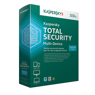 Kaspersky Total Security 2015  5 postes 1 an (français, Windows, Mac, Android, iOS)
