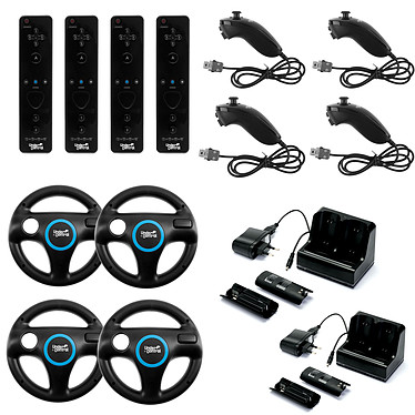Under Control Wii/Wii U Family Kit (coloris noir) Pack familial complet avec 4 ii Motion Controller, 4 ii Chuck, 4 Steering Wheel et 2 Charge Station (compatible Wii et Wii U)