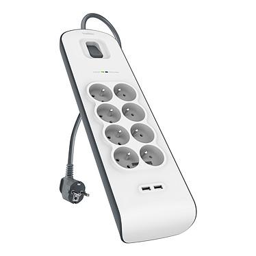 Belkin regleta pararrayos (8 tomas de corriente + 2 tomas USB) Bloque de protección pararrayos con 8 tomas de corriente y 2 puertos de carga USB